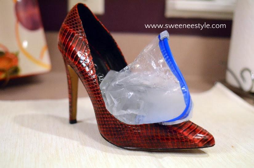 dùng túi zipper làm to giày bị chật