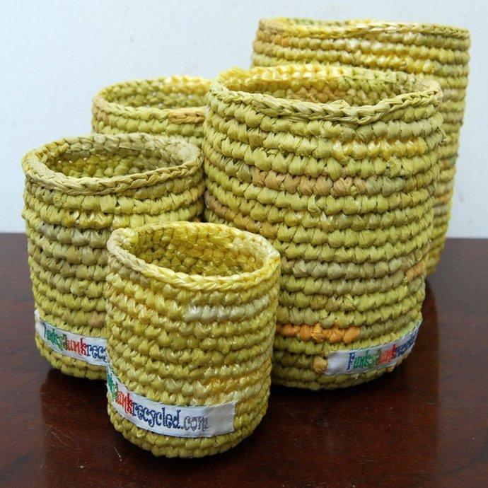 tái chế túi nilon - làm giỏ
