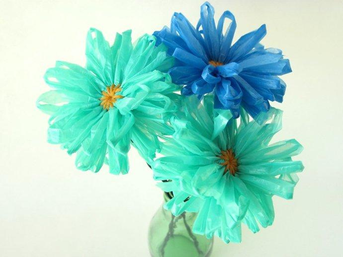 tái chế túi nilon - làm hoa